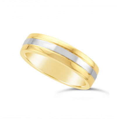 Gents 9ct Yellow Gold Heavy Weight Court Wedding Ring, With A 2.3mm 9ct White Gold Onlay, With A V Groove On Either Side Of The White Gold Band